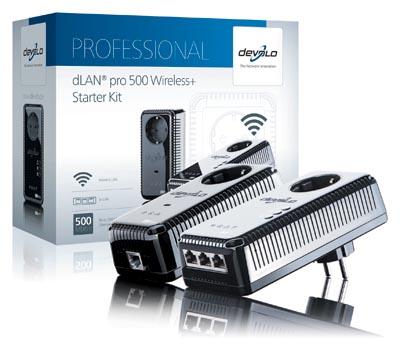 Adaptador PLC Powerline profesional con punto de acceso Wi-Fi
