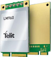 Una de las primeras tarjetas LTE-Advanced Cat. 18 en formato Mini PCI Express: la LM960 de Telit. (Fuente: Telit)