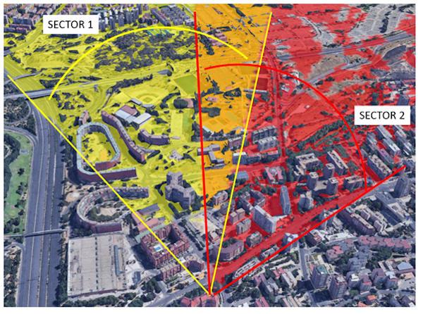 Zonas solapadas de interferencias en el área naranja